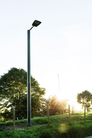 Soluxio solar lighting column sunset