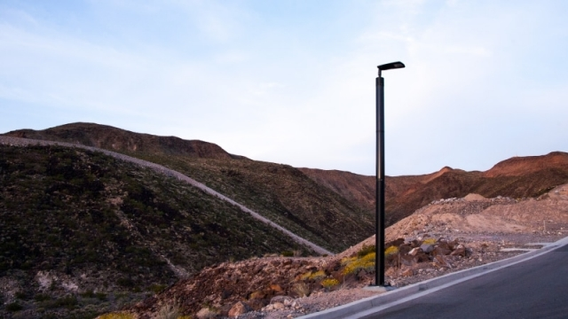 Soluxio off-grid light pole in mountains