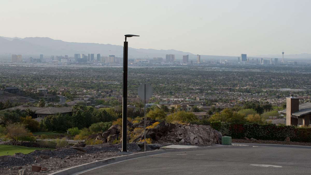 Soluxio solar pathway lighting with view on skyline Las Vegas Strip