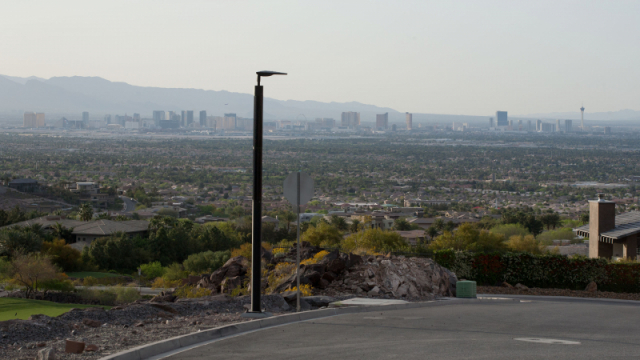 Soluxio solar pathway lighting with view on skyline of sustainable city Las Vegas