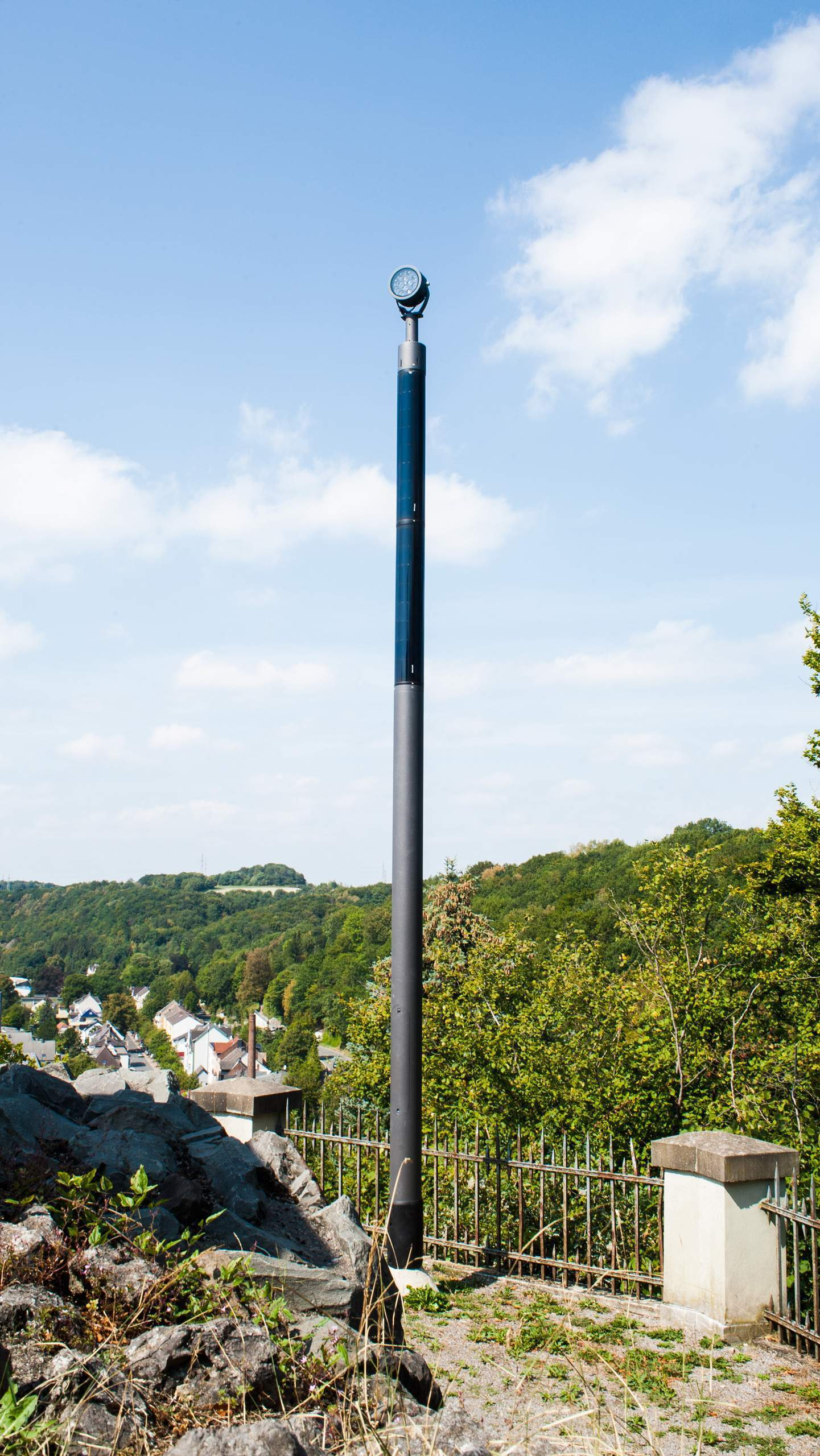 Soluxio solar powered monument lighting pole at hill in Germany
