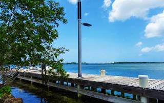 Marina solar pole with lighting and WiFi