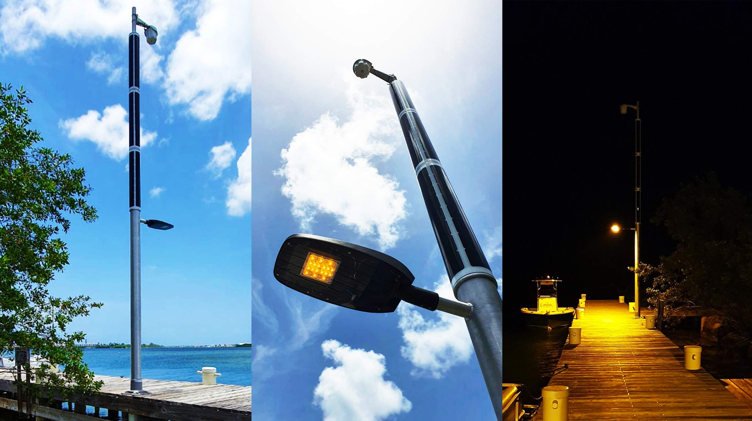 Soluxio solar marine lighting at harbor with WiFi and turtle-friendly lighting