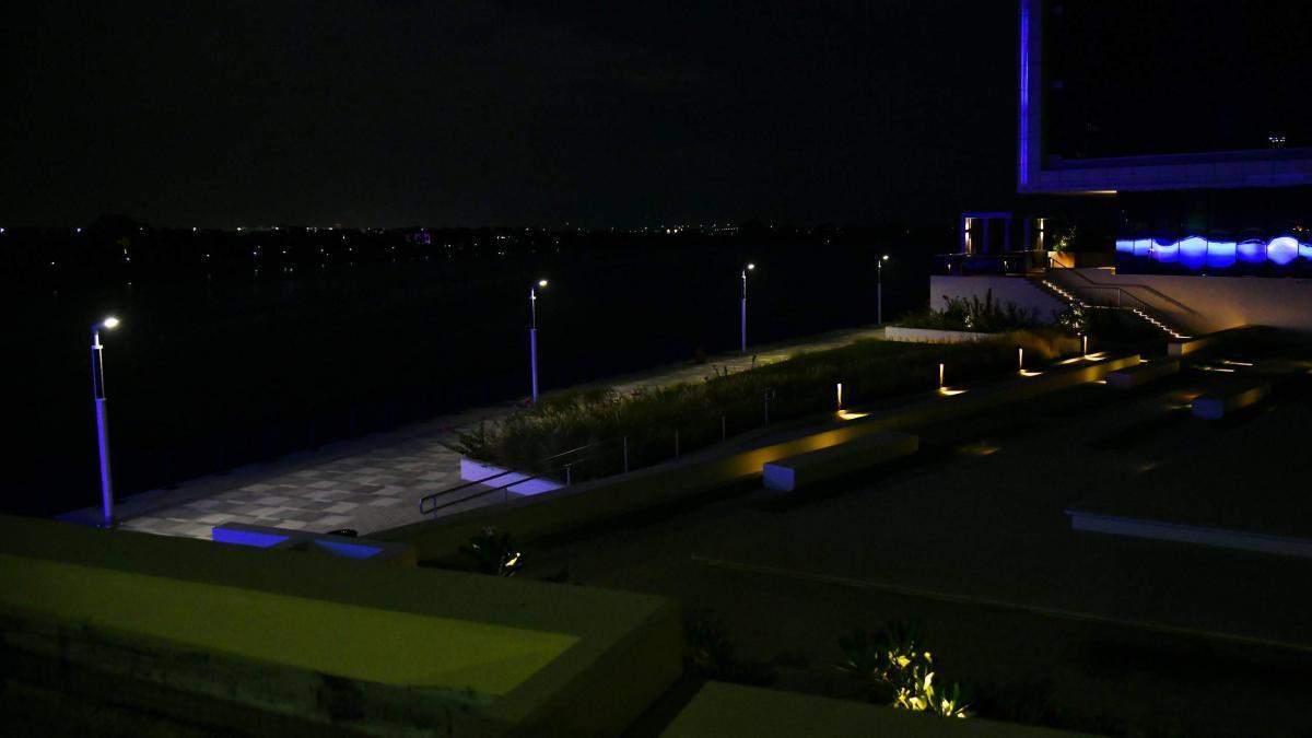 Solar boulevard lighting at night at the UAE